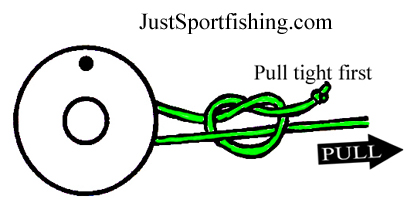 Arbor knot for Tying fishing line to reel