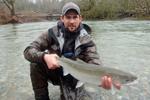 fisherman with steelhead trout photo